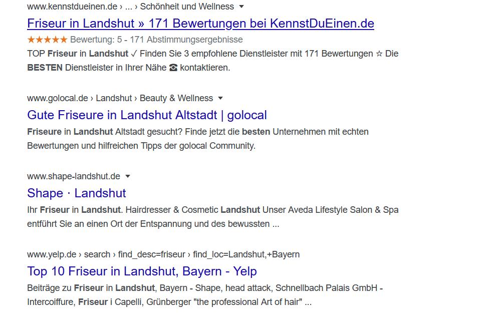 Organische Google Treffer