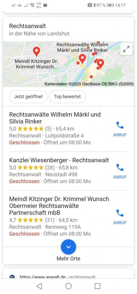 Local SEO Googlesuche Beispiel: Anwalt Landshut