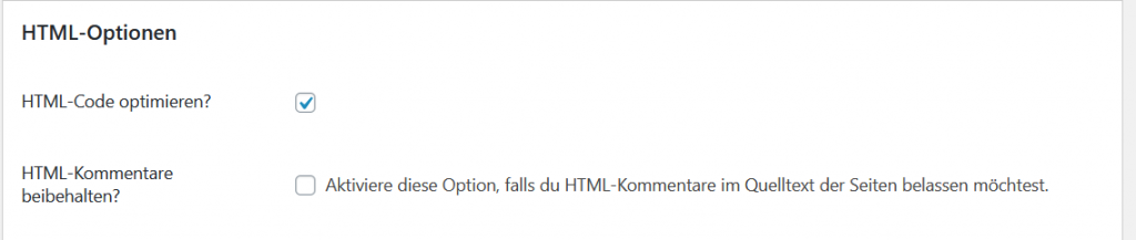 Autoptimize HTML-Optionen