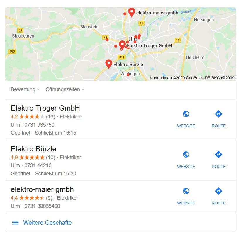 Google Maps eingeblendet + Local Pack