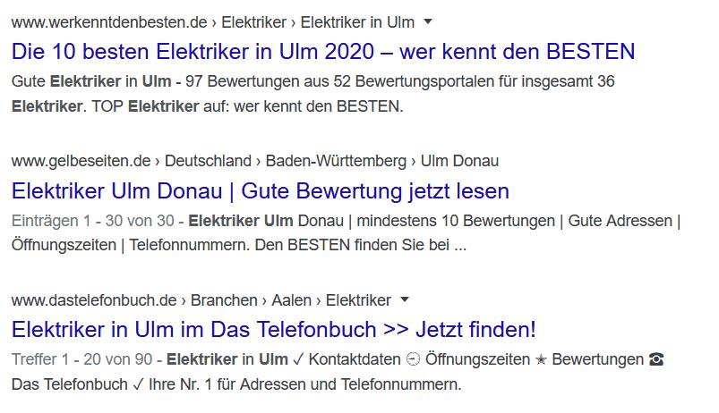 Beispiel: Die organischen Listings in der Google Search