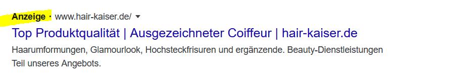 Google Adwords Anzeige: Bester Friseur Landshut