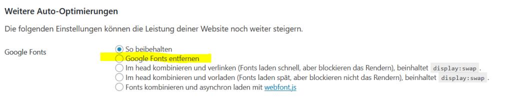 Google Fonts entfernen