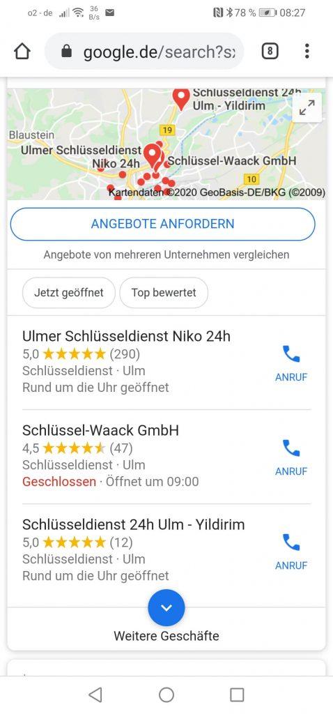 """Beispiel: Suche """"Schlüsseldienst Ulm"""" via Smartphone"""