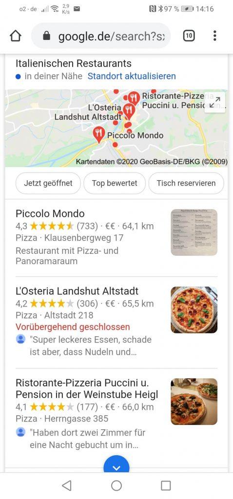 Local SEO Googlesuche Beispiel: Pizzeria Landshut