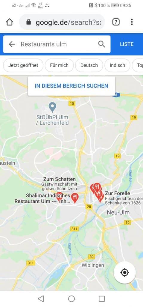 Google Maps - Beispiel: Darstellung Restaurants in Ulm in Google Maps