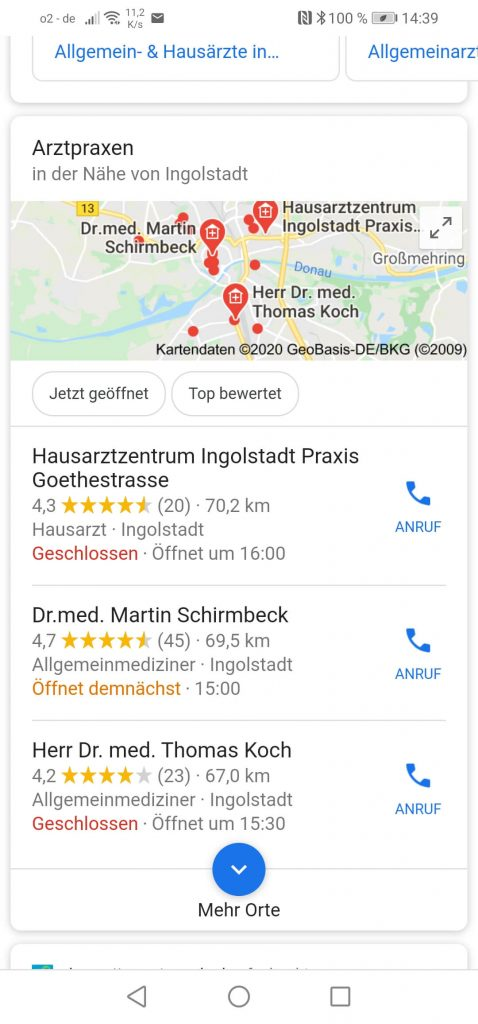 Lokale Suchmaschinenoptimierung Ingolstadt: Arztpraxen