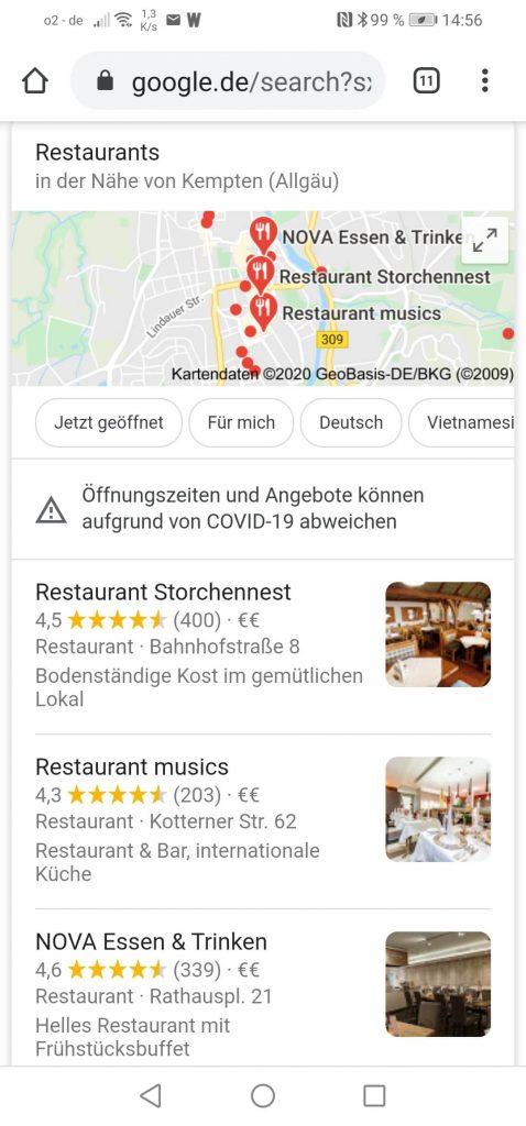 Restaurants in Kempten local Pack