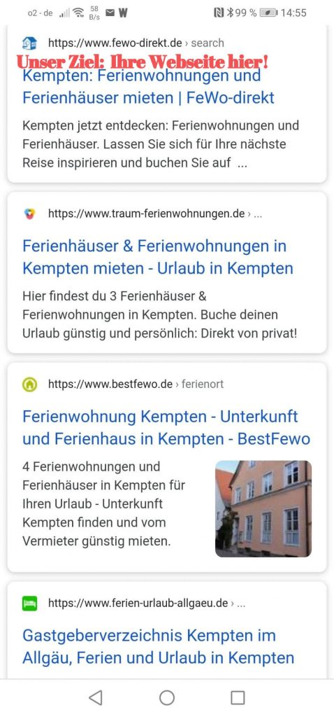 Organische Google Listings Ferienwohnung Kempten
