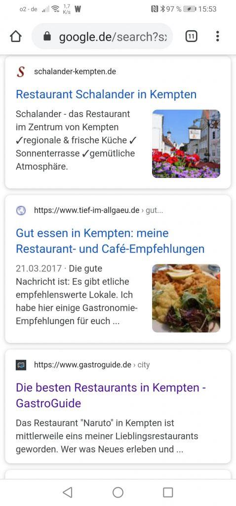 Organische Ergebnisse für Kempten Restaurant