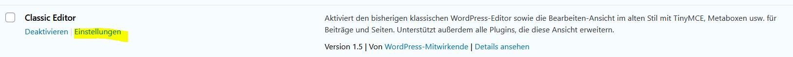 Erlaube Benutzern, den Editor zu wechseln - Classic Editor