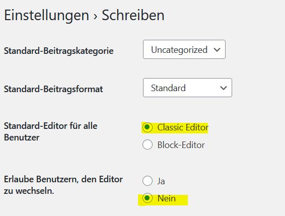 Wordpress Classic Editor Plugin Enstellungen: Editor wechseln erlauben