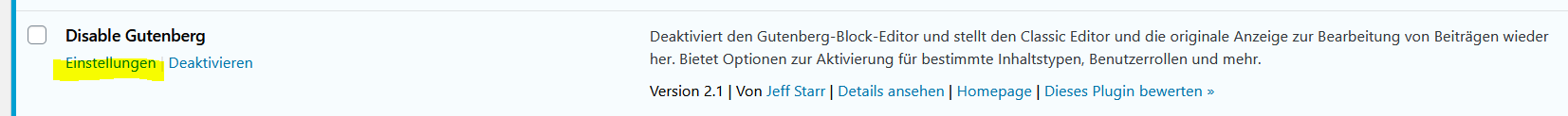 Disable Gutenberg Einstellungen
