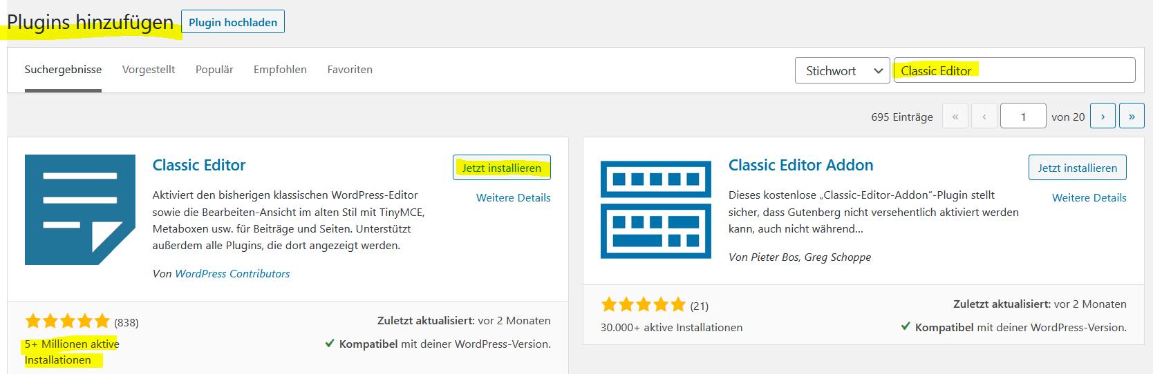 Wordpress Classic Editor Plugin installieren
