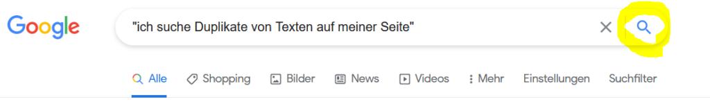duplicate content mit Google finden