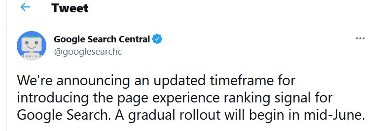 page experience update verschoben