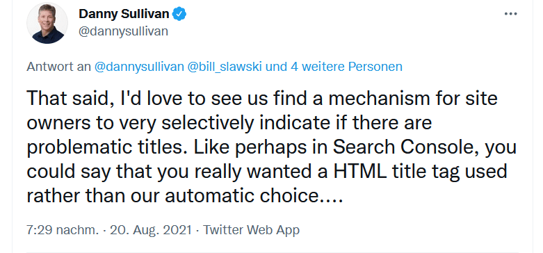 Dany Sullivan Google Tool um schlechte Titles zu melden