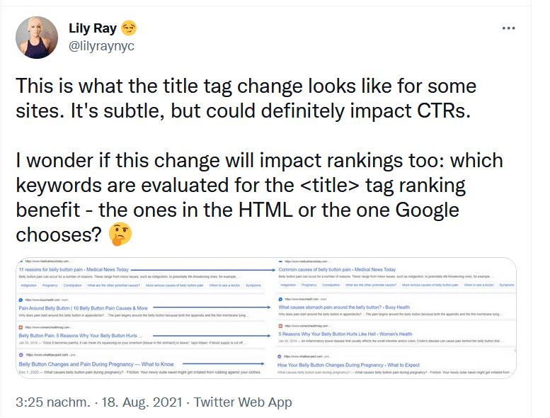 Twitter User melder Title Änderung in Google