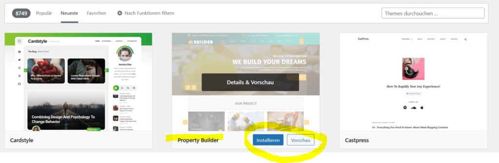 Wordpress neues Layout auswählen
