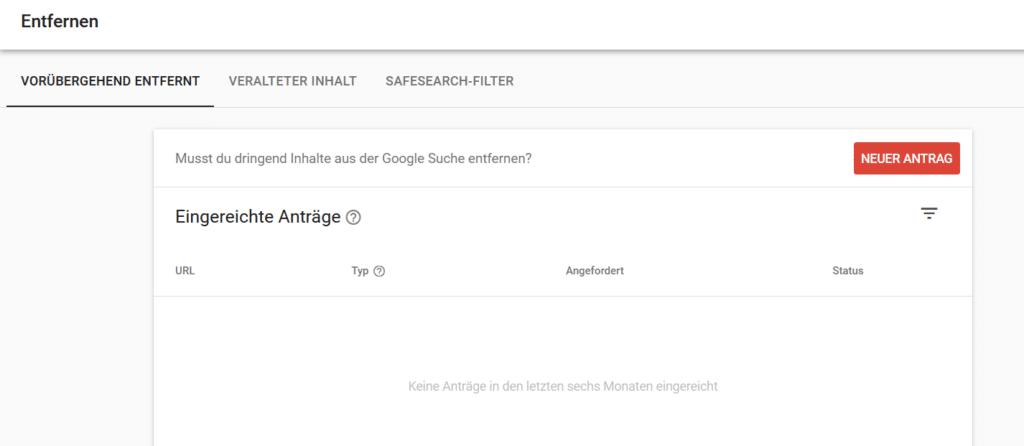 Beitrag entfernen aus Google mittels Search Console